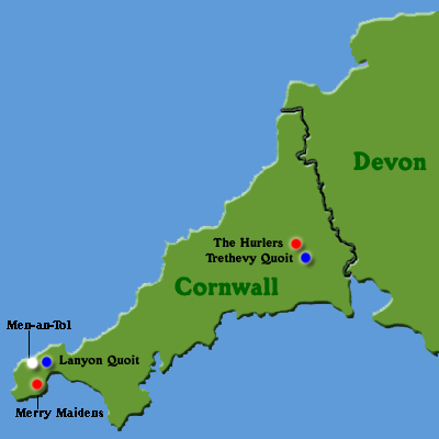 Map of England: Cornwall