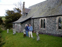 Gazza and Burnsie at Gwytherin Church
